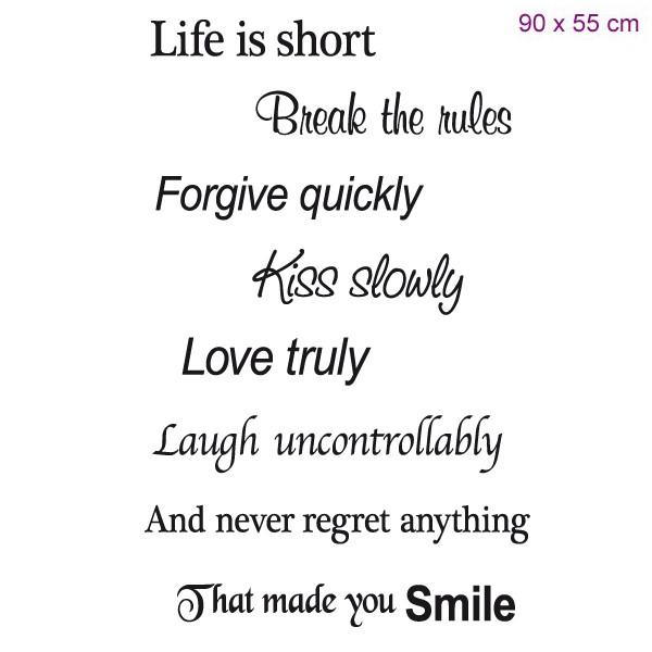 Muursticker Life Is Short Break The Rules Mooie Muurtekst