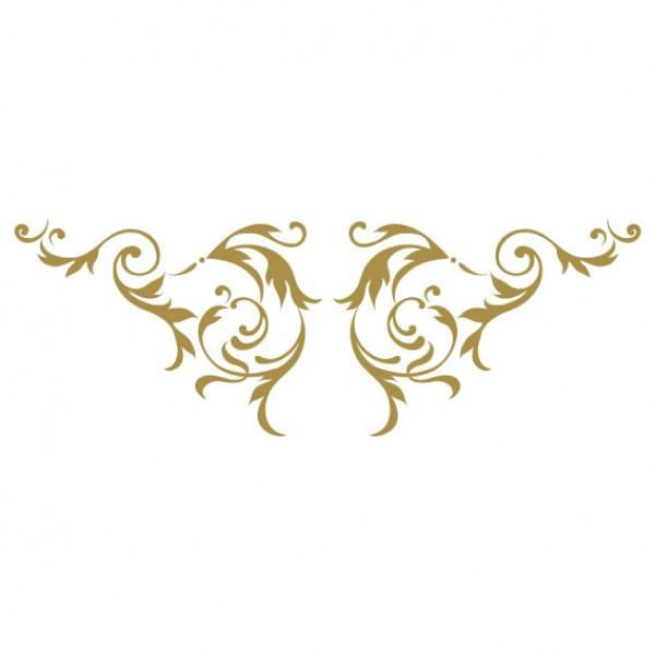 Ornament Barok Left Right Muursticker Wandsticker