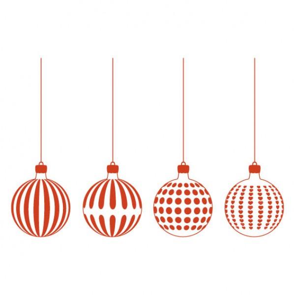 Kerstballen 4 Stuks Muursticker Wandsticker